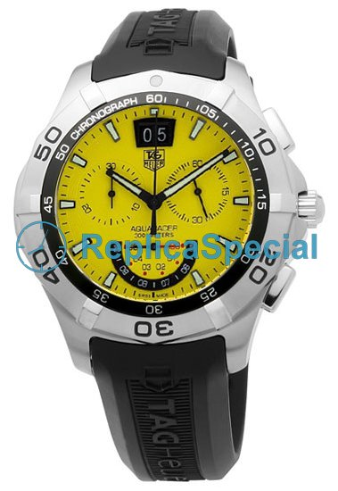 Tag Heuer Aquaracer CAF101D.FT8011 Yellow Dial Stainless Steel Case Rubber Bralecet Watch