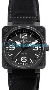 Bell Ross BR01 BR 01-92 Square Automatic Black Dial with sand colored markers Dial Watch