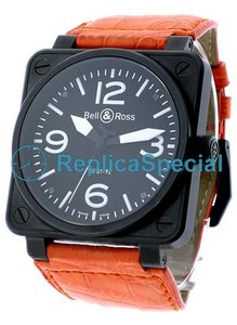 Bell Ross BR01 BR - 01-92 - BLK - CAR - LS Automatic Black Dial Leather Bralecet Mens Watch