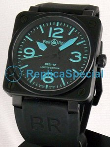 Bell Ross BR01 BR 01-92 BLUE Rubber Bralecet Galvanic black Square Watch