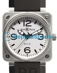 Bell Ross BR01 BR 01-92 White Dial Rubber Bralecet Mens White Dial Watch