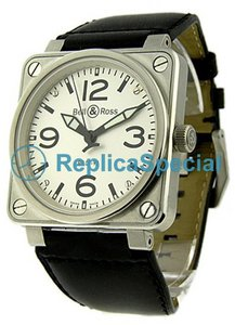 Bell Ross BR01 BR - 01-92 - WHT - LS Automatic Stainless Steel Case Leather Bralecet Mens Watch