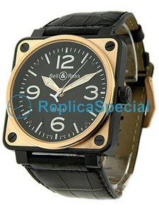 Bell Ross BR01 BR - 01-92BI - C Mens Black Dial carbon afwerking staal w / Rose Gold Watch zaak
