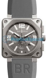 Bell Ross BR01 BR 01-94 Grey Dial Rubber Bralecet Mens Square Watch