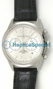 Bell Ross Geneve BR 126 Officer Mens Round Ruostumaton teräs kehys hopea Dial Watch