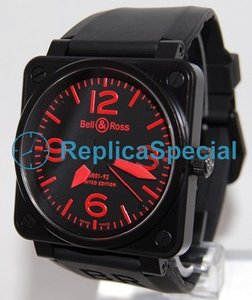 Bell Ross BR01 BR01-92 Red Square Mens Carbon Finish Stainless Steel Asia Watch