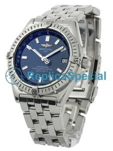 Breitling Wings A10350 Blue Dial Stainless Steel Bralecet Automatisk White Gold Case Watch