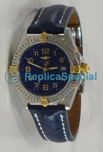 Breitling Wings B 67050 Round Leather Bralecet Automatic Blue Dial Watch