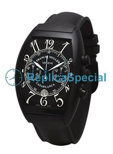 Franck Muller Casablanca 8885CCCDT Stainless Steel Bezel Black Dial Mens Tonneau Watch