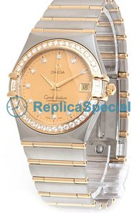 Omega Constellation 1207.15.00 Yellow Gold Diamond Dial Automatic Diamond Bezel Mens Watch
