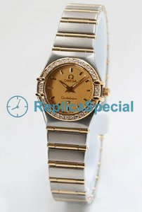 Omega Constellation Ladies 1267.10.00 Womens Yellow/ Gold Dial Polygon Watch