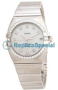 Omega Constellation Ladies 1599.75.00 Womens Automatic Polygon rustfritt stål Watch
