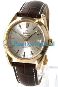 Omega Seamaster Aqua Terra 2604.30.37 Mens Silver Dial Brown Leather Strap Bralecet Watch
