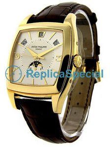 Patek Philippe Complicated 5135J oro giallo Lunetta Leather Bralecet rotonda Mens Watch