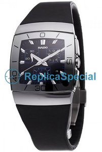 Rado Ceramica R13600149 Mens Automatic Rubber Bralecet Black Dial Watch