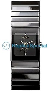 Rado Ceramica R21347712 Armband Automatisk Black Dial Stainless Steel Bralecet Watch