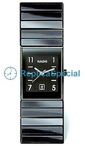 Rado Ceramica R21348202 Black Dial Mens Crocodile Skin Bralecet Automatic Watch