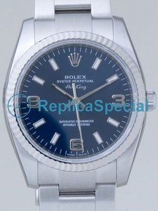 Rolex Airking 114234 Stainless Steel Oyster Bralecet Round Blue Dial Watch