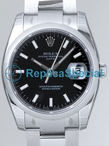 Rolex Date Mens 115200BKSO Mens Stainless Steel Case Round Black Dial Watch