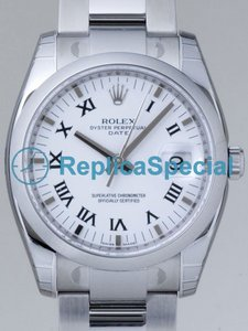 Rolex Date Mens 115200WRO Mens Round Automatic White Dial Watch