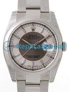 Rolex Date Mens 116200SRSO Mens Stainless Steel Asia hopea ja harmaa Dial Automaattinen Watch