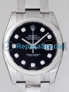 Rolex Datejust Mens 116234 Black Diamonds Dial Round Stainless Steel Oyster Bralecet Watch