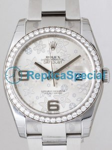 Rolex Datejust Mens 116244 Diamonds Bezel Silver Floral Dial Round Automatic Watch