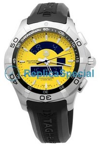 Tag Heuer Aquaracer CAF1011.FT8011 Mens Rubber Bralecet Automatic Yellow Dial Watch
