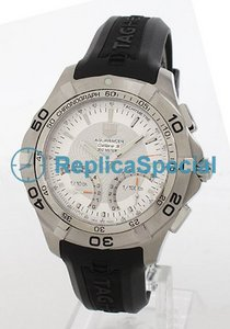 Tag Heuer Aquaracer CAF7011.FT8011 Gummi Bralecet Silver Dial Stainless Steel Bezel Watch