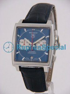 Tag Heuer Monaco CW2113.FC6183 Automatic Mens Crocodile Skin Bralecet Blue Dial Watch