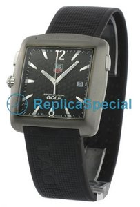 Tag Heuer Golf WAE1111.FT6004 Black Dial Square Rubber Bralecet Watch