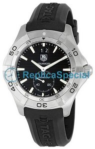 Tag Heuer Aquaracer WAF1014.FT8010 Round Mens Stainless Steel Case Rubber Bralecet Watch