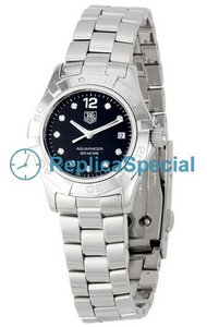 Tag Heuer Aquaracer WAF141C.BA0824 Round Stainless Steel Bezel Black Dial Womens Watch