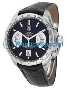 Tag Heuer Carrera CAV511A.FC6225 rustfritt stål Round Leather Bralecet Watch